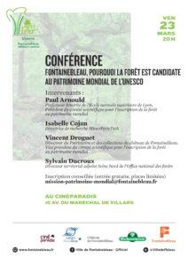 Conférence Fontainebleau poiourquoi la forêt est-elle candidate au patrimoine mondial de l'Unesco
