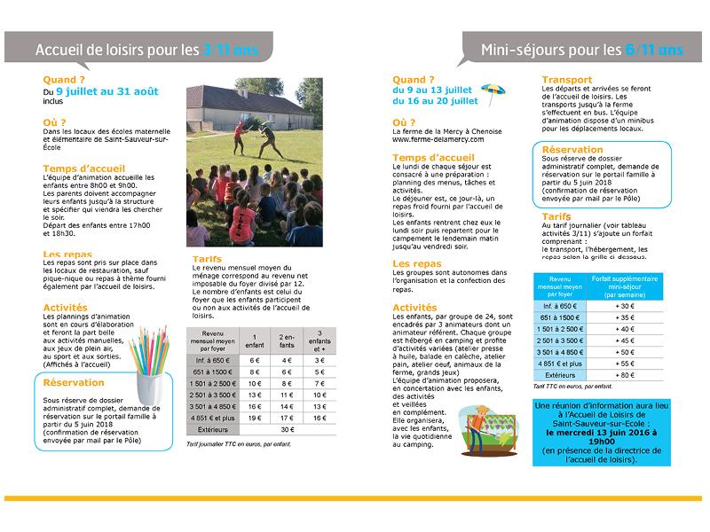 Pages intérieurs de la brochure été 2018 enfance de 3 à 11 ans