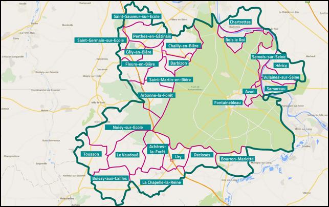 Carte du territoire du Pays de Fontainebleau