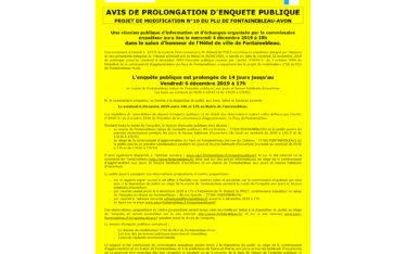 avis enquete publique prolongation PLU fontainebleau